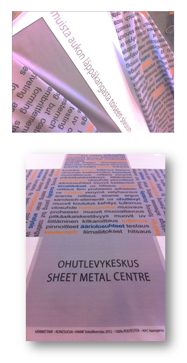 Ohutlevykeskuksen oman tekstiilikuosin suunnittelu, digitulostettu kangas konesuojiin, kuosin suunnittelu, valmistuttaminen ja konesuojien valmistus // Tilaaja/Client: Ohutlevykeskus Staff // Suunnittelu/Design: Tekstiiliverstas, 2012 //  Yhteistyökumppani/Partner: Printscorpio Oy
