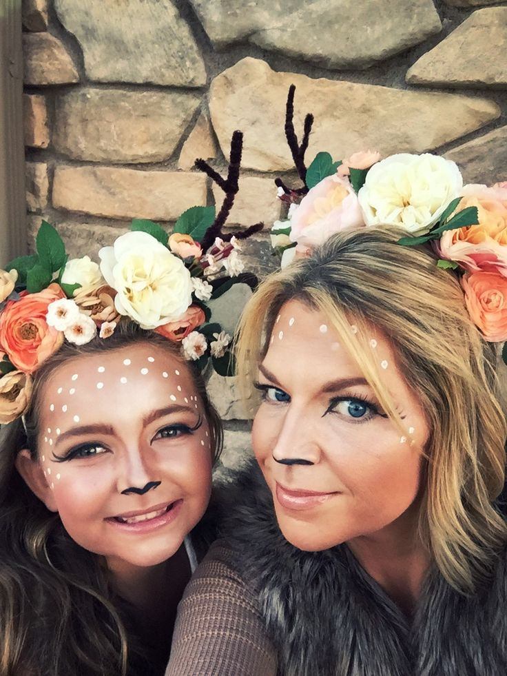 Mother/daughter deer DYI costumes, headbands, makeup