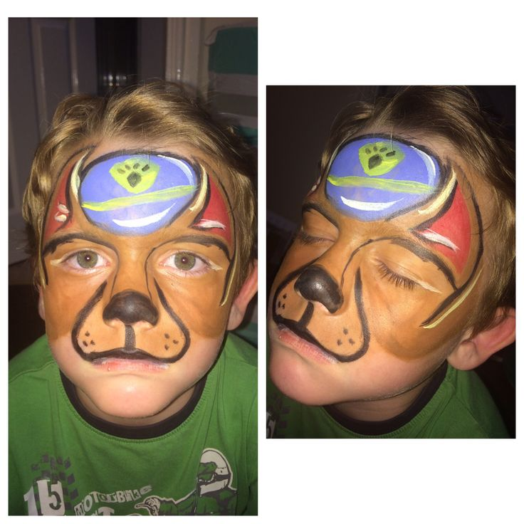 First attempt at a paw patrol face paint!! #pawpatrol #chase #facepainting #paint