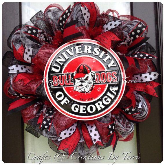 University of GEORGIA Wreath - Georgia Bulldogs Wreath -  College Football Wreath - Deco Mesh Wreath - Door Decor - Ready To Ship on Etsy, $79.00
