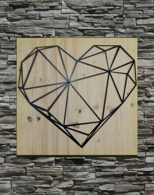 El Yapımı Kalp Ahşap-Metal Pano