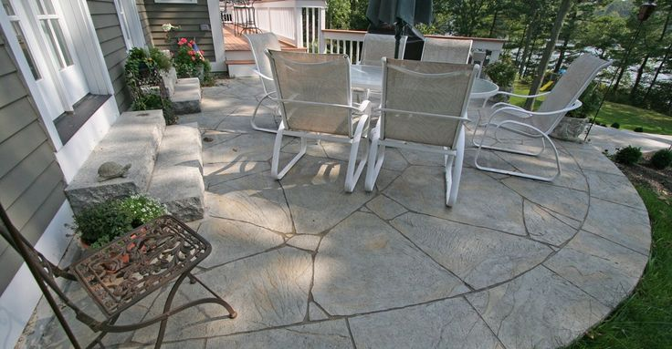 Curved, Flagstone, Concrete Patios - New England Hardscapes Inc in Acton, MA