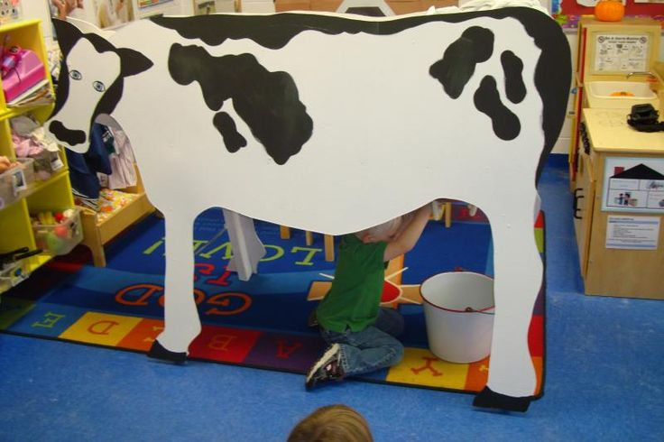 Classroom cow made out of cardboard with working udder!