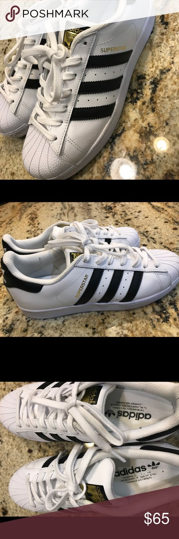 Superstar Sneaker Adidas Lace-up style Leather and synthetic upper/textile lining/synthetic sole Runs large use next size down.used once very clean like new adidas Shoes Sneakers