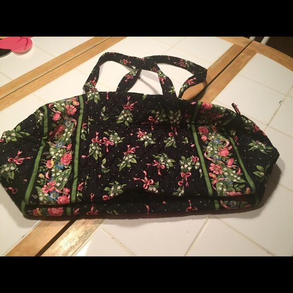Vera Bradley duffel bag Breast cancer edition black and pink floral duffel bag, used in great condition. No stains or damage. Vera Bradley Bags Totes