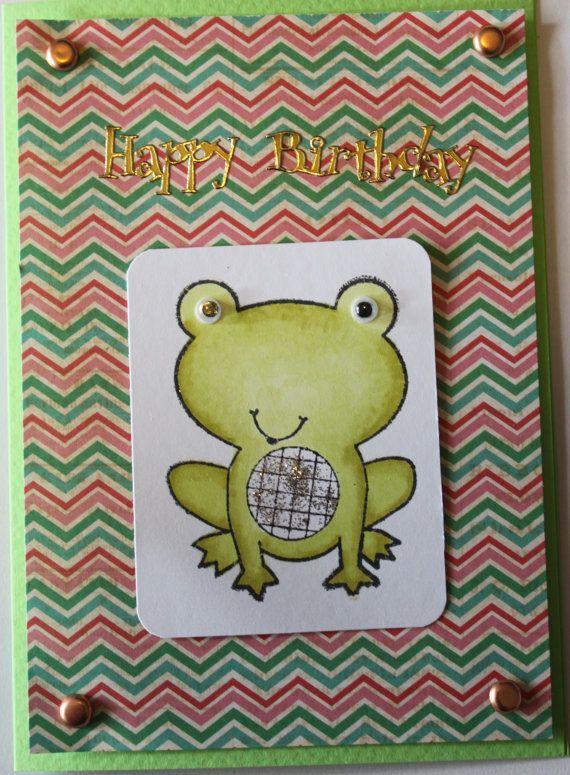 Froggy Frog Card Kit by JacsCraftyCards on Etsy