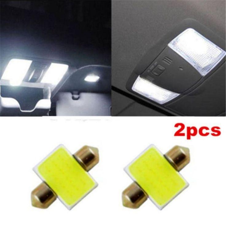 2pcs 31mm 12smd COB LED DE3175 Light Bulbs For Auto Car Interior Dome Map White