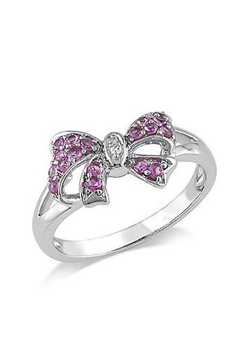 Pink Sapphire  Diamond Bow Ring