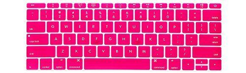 HRH Keyboard Cover Silicone Skin for New MacBook Pro 13 Inch A1708 (No TouchBar) Release 2016 and MacBook 12 Inch A1534 with Retina Display (2015 Version )USA Keyboard Layout-Hot Pink