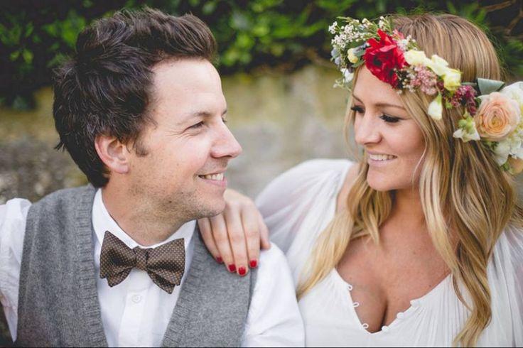 La couronne de fleurs de Lachelle Farrar, lors de son mariage avec Pierre Bouvier, chanteur du groupe Simple Plan.