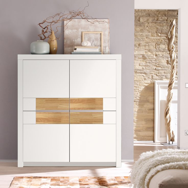 Schlafzimmer Kommode Holz Billig Highboard Eiche Weiß | Highboard, Highboard