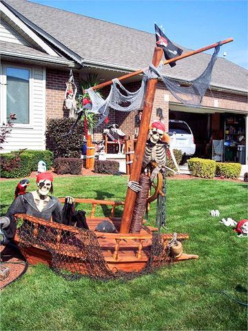 A Pirate Ship. Rrrr! My son has to do this, heck he lives on Pirates Court!