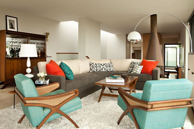 Feeling Mid-century Modern. This is a contemporary interpretation, of course. Love the turquoise and orange.