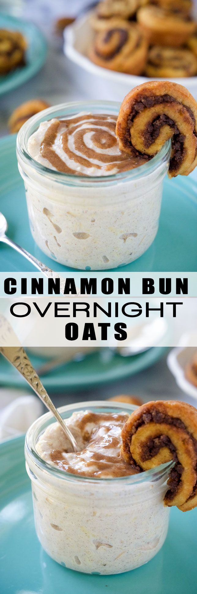 Cinnamon Bun Overnight Oats are a cinnamon bun lovers dream! Flavored with cinnamon, a bit of vanilla and greek yogurt! An easy breakfast idea that you can make the night before!