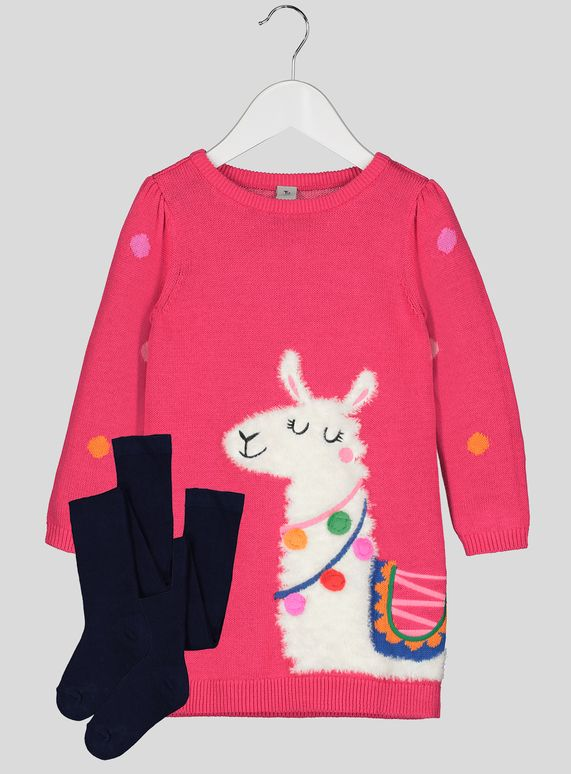 cfd3e5414e Your little one will love this pretty pink knitted dress with an adorable  fluffy llama on it. It features a crew neck and a slightly puffed sleeve  and comes ...