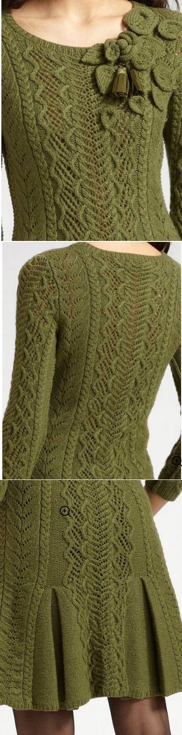 Оливковое платье от Оскара.   вязание для меня   Постила