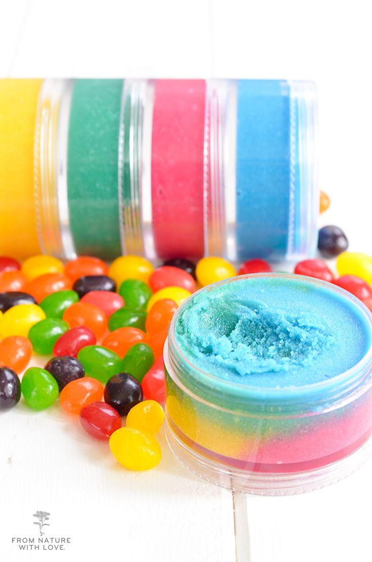 Rainbow Jelly Bean Lip Scrub Recipe | A multi-colored lip scrub made with Shea Butter, Avocado Oil, and Organic Sugar.