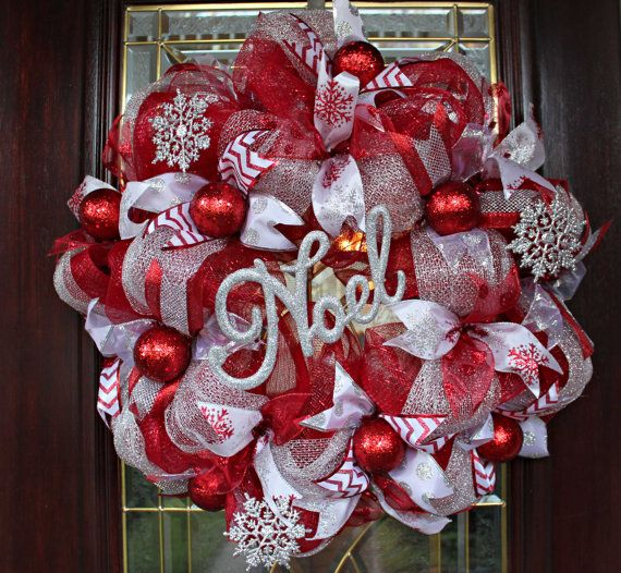 Hey, I found this really awesome Etsy listing at https://www.etsy.com/listing/211637441/deco-mesh-christmas-wreath-red-and