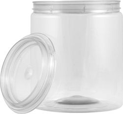 1 QUART CLEAR ALL PLASTIC CAN WITH LID | The clear all-plastic cans have a PET body and cover that are dent and rust resistant. Not for food storage. #all #plastic #paint #can #clear