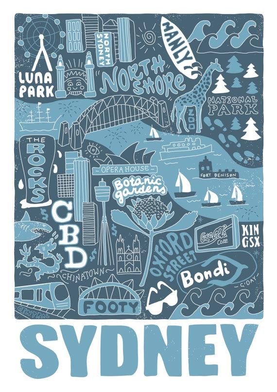 Sydney Illustration print par Kellyds79 sur Etsy, $25.00