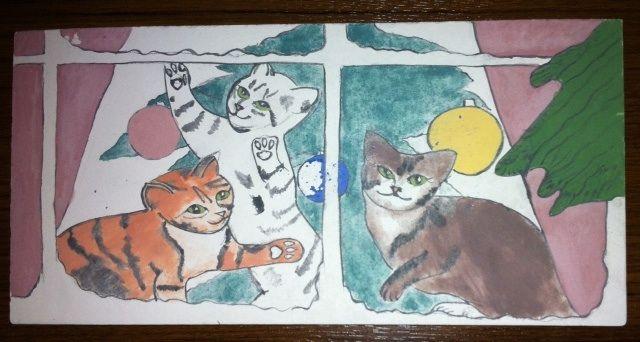 MADE BY Benian arsiray @benianarsiray ceramic tile çini gravür gravure cats new year