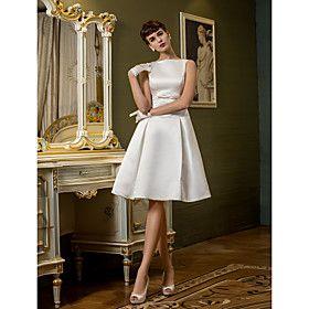 A-line Bateau Knee-length Satin Wedding Dress (710766)