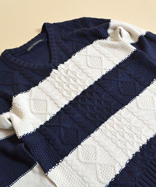ROOPTOKYO(ループトーキョー)のVネックカラーベーシックニット ケーブル編み(ニット/セーター)|ブルー系その他2