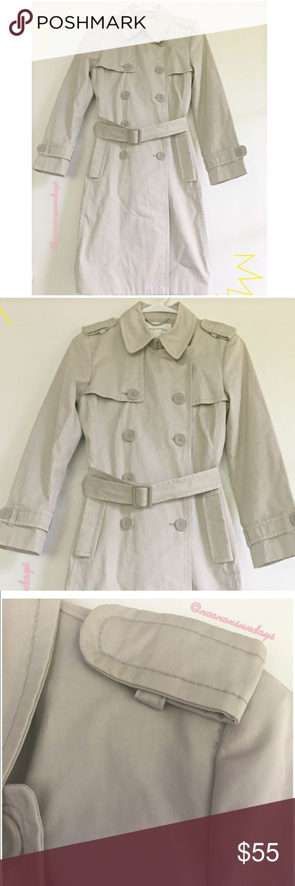 🌟Banana Republic Trench Coat 🌟 Banana Republic beige trench coat, size XS, petite, belt included, small stain on collar (as shown), 💯 % cotton lining. Pre-loved and in Great condition! Banana Republic Jackets & Coats Trench Coats