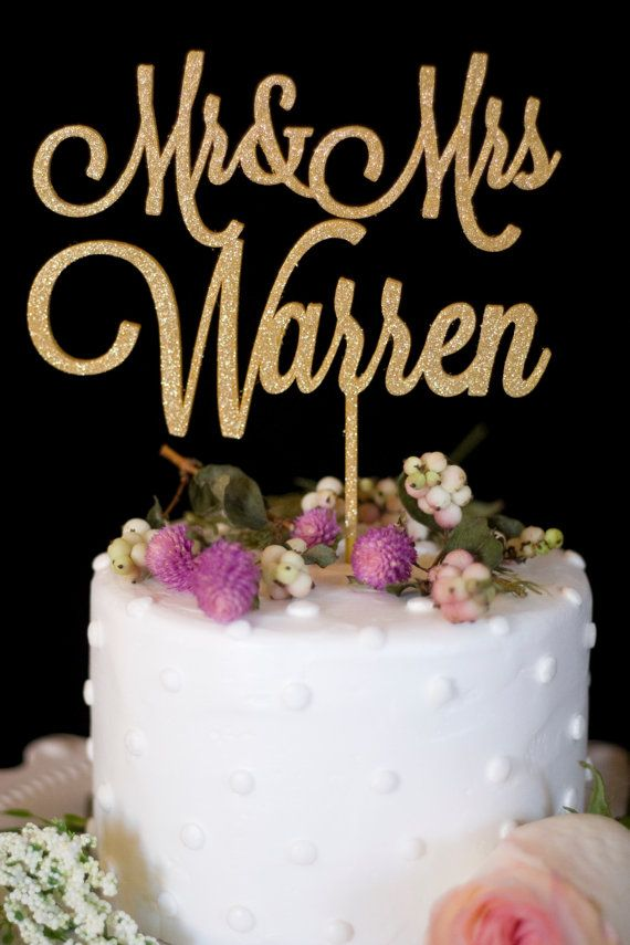 Custom Wedding Cake Topper Mr and Mrs Gold- Customize your special day with this personalized wedding cake topper.  **When purchasing** After