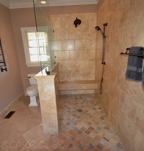 Level entry shower our jobs pinterest for Bathroom design jobs