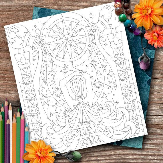 Aquarius Tarot The Star Colouring Page by OpulentOwlArtistry