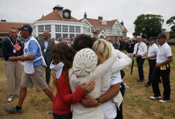 July 21, 2013: Phil Mickelson wins 2013 British Open and celebrates with his wife, Amy, and their three children, Amanda, Sophia and Evan. This is Phil's fifth major championship win, but first win at the British Open.
