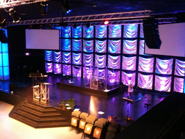 Stage Backdrop With Small Pieces Of Square Silber Fabric