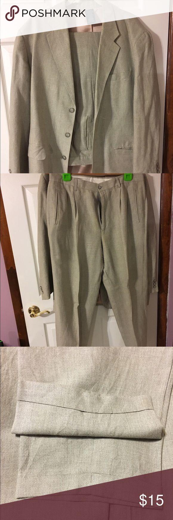 Claiborne beige suit Beige suit can be worn separate or together jacket size 42r pants 36x30 pants have cuffs claborne Suits & Blazers Suits