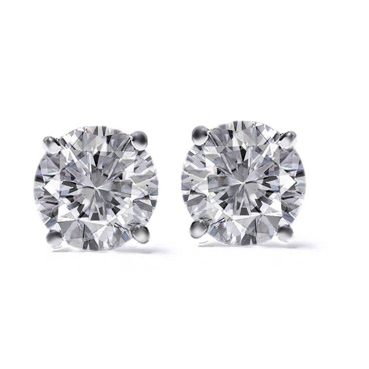 ROUND DIAMOND 1.08Ct SOLITAIRE STUD EARRINGS 14K WHITE GOLD WITH CERTIFICATION #affinitygold #WithDiamonds