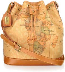 Alviero Martini's drawstring bucket bag with geo print that won't go unnoticed.