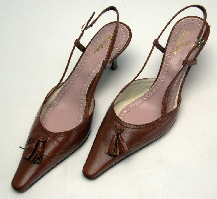 Brooks Brothers women's brown leather tassels wingtip slingbacks size 8 US.  $45.99 plus $5.99 for