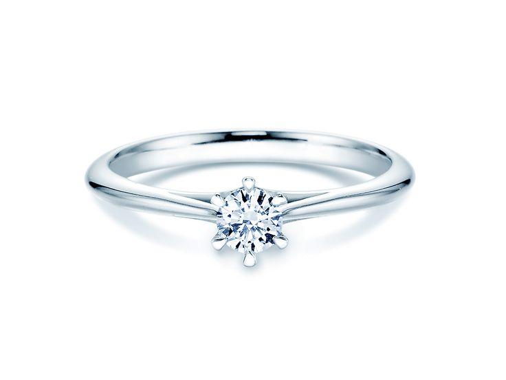 Rivoir Heaven 6er Krappenfassung in 14 Karat Weißgold mit Diamant 0,25ct   Der perfekte Verlobungsring! Einfach, klassisch, aber elegant.