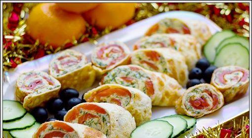 Рецепт-Рулетики с семгой и сыром   Новогодние рецепты