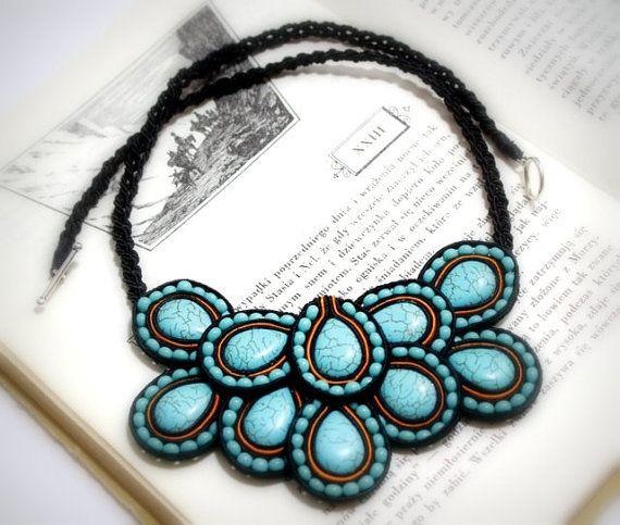 Soutache Jewelry, Blue Jewelry, Soutache Necklace, Turquise Necklace, Soutache Necklace with Turquoise Howlites - OOAK