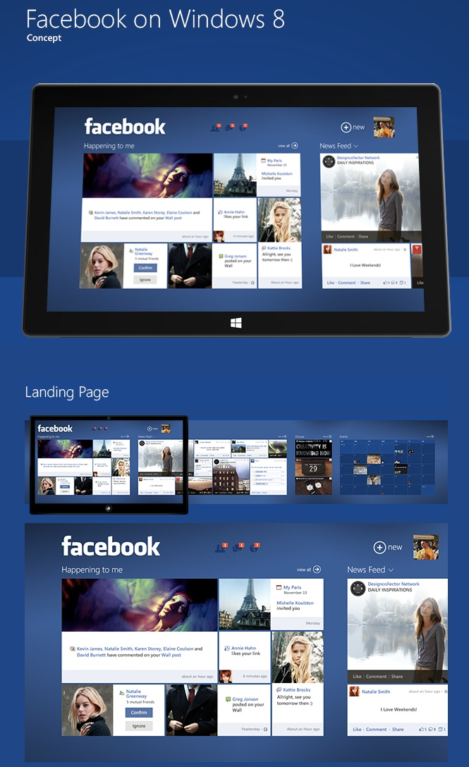 A beautiful and smart Facebook on Window 8 app concept.  Wish the experience like this regardless of platform #webdesign #windows8