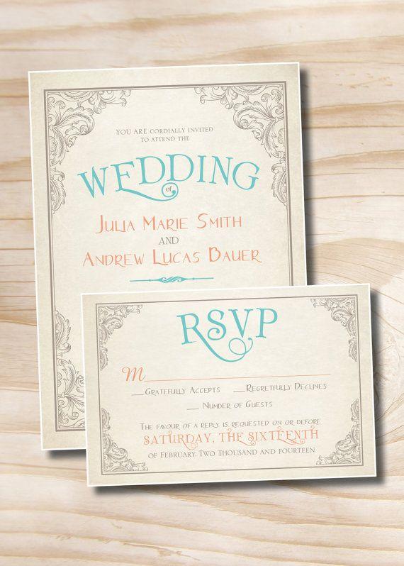 elegant scroll vintage rustic wedding invitation and