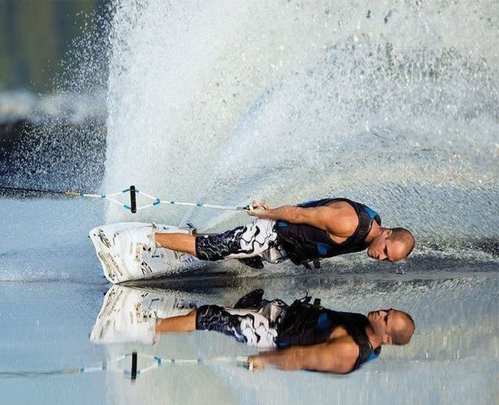 wake boarding - great shot!.... Not happening