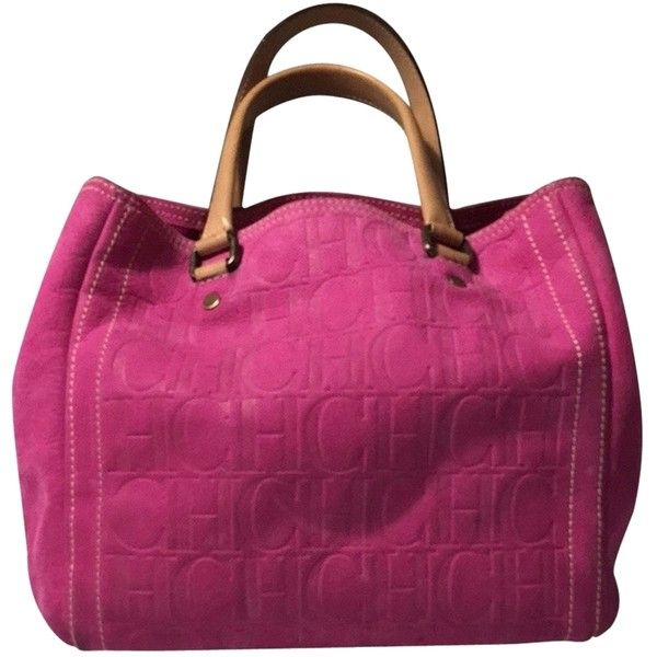 """Pre-owned Carolina Herrera """" Leather Monogram Burgundy Bag"""" Pink Tote... ($500) ❤ liked on Polyvore featuring bags, handbags, tote bags, pink, pink leather purse, handbags totes, genuine leather tote, leather tote and monogram tote"""