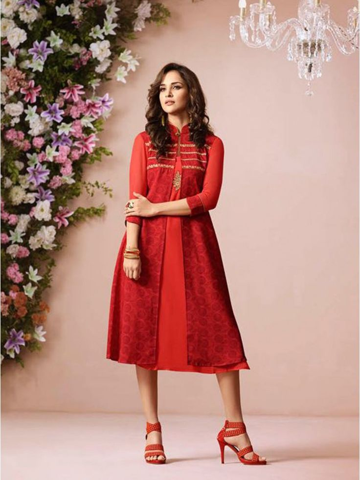 Attractive Hot Red Georgette Knee Long Kurtis