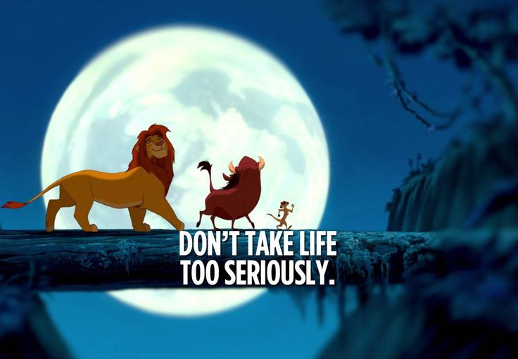 """It means no worries for the rest of yours days. It's our problem-free philosophy, Hakuna Matata!"" – Timon and Pumbaa"