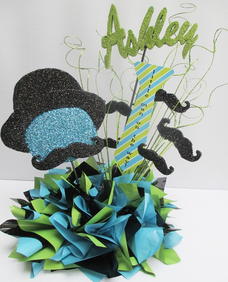 Ultra Creative Blue Green Mustache Baby Shower Centerpiece Ideas : Super Creative And Appealing Mustache Baby Shower Decorations Applied To Your Guest Table Centerpieces