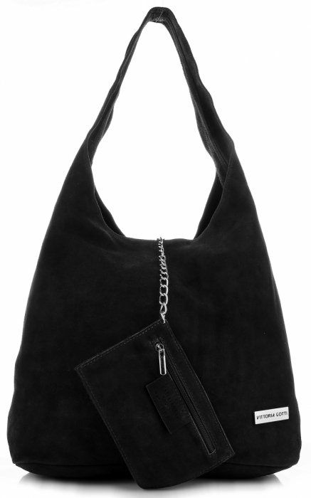 Oryginalne Torby Skórzane XL VITTORIA GOTTI Shopper Bag z Etui Czarna
