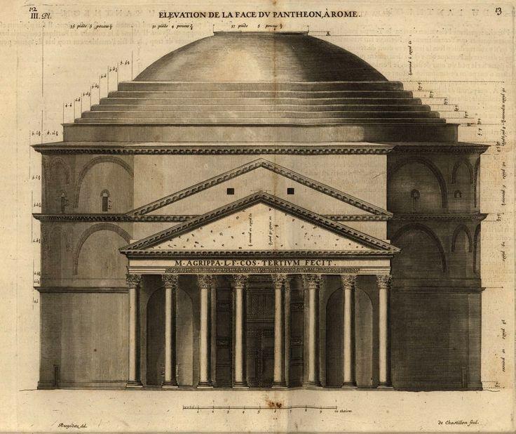 Prospetto della facciata del Pantheon #roma #architettura #misura #studio #pantheon #illustrazione