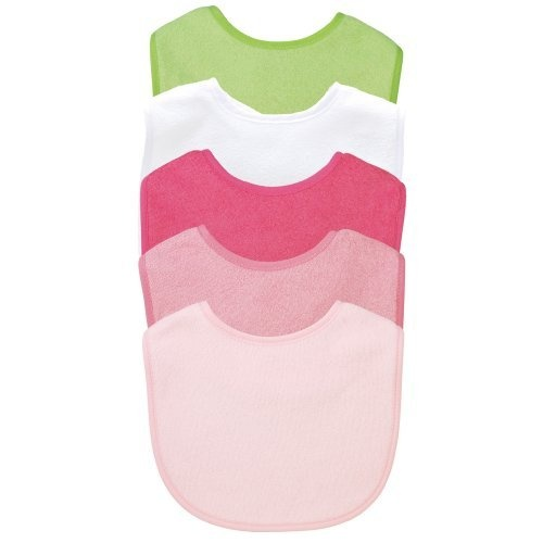 green sprouts 5 Pack Basic Waterproof Absorbent Terry Bibs Girls